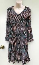 JUMP Scallop Print Boho Style Dress Lightweight Fabric Size 12 NWT Rrp $139.00