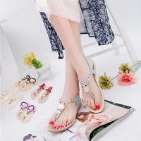 Women Fashion Thong Sandal Boho Owl Beads Girls Beach Flat Foothold Shoes GB09