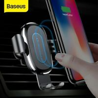 Baseus 10W QI Wireless Charger Car Phone Holder Stand for iPhone Samsung Google