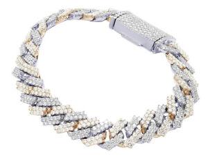 "10K Two-Tone White/Rose Gold 2 Row Real Diamond Cuban Bracelet 12MM 8.5"" 12.99CT"