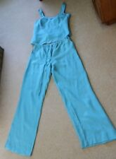 Almia Turquoise Blue Linen Top & Trousers adjustable waist size 16 Hardly Worn