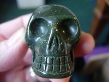 Crystal skull dark green agate LJ27