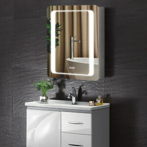 LED Modern Bath Mirror Cabinet w/ 2 Shelf Anti-fog Time Display Shaver Socket UK
