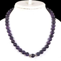 "18"" Strand Natural Amethyst Round Cabochon Beads Necklace 925 Silver Clasp"