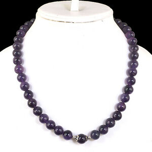 """18"""" Strand Natural Amethyst Round Cabochon Beads Necklace 925 Silver Clasp"""