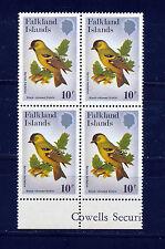 FALKLAND ISLANDS 1982 PASSERINES SG434w WMK UPRIGHT MARGINAL BLOCK OF 4 MNH (2)