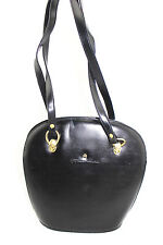 Fortune Duck Black Moda Italia Faux Leather Vegan Satchel Lady Chic Shoulder Bag