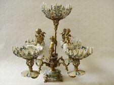 9973108-dss Bronze Keramik Tafel-Aufsatz Schale mit Putten Putto H55cm