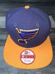 Men's St. Louis Blues New Era 9Fifty Basic Navy Flat Brim Snapback Hat NWT
