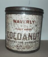 AUBURN, NY VINTAGE WAVERLY BRAND FANCY SHRED COCOANUT TIN CAN C. C. MEAKER CO.