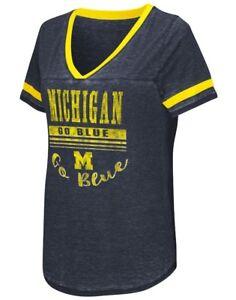 "Michigan Wolverines Women's NCAA ""Gunther"" Dual Blend Burn Out T-Shirt"