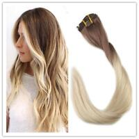 Full Shine Clip in Remy Human Hair Extensions Blonde Ombre Color 7pcs 50gram