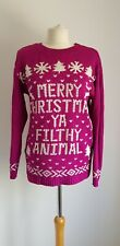 BOOHOO Christmas Jumper Purple Xmas Festive Die Hard Medium/Large