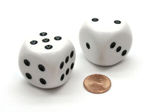 Pack of 2 Large 32mm Round Corner Opaque Dice - White with Black