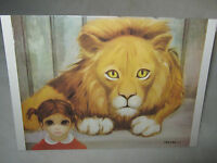 "BIG EYES Vintage 1963 Margaret Keane ""THE LION AND THE CHILD"" (1) Greeting Card"