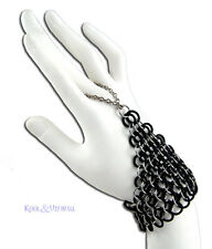 Steel and Rubber Chain Mail Slave Bracelet Handflower by SINPATIKO * Goth
