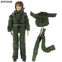 Army Green Cosplay Soldier 1/6 Boy Doll Clothes For Ken Doll Coat & Bib Pants