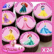 24 X Princesa Cumpleaños Cupcake Toppers Comestibles Mezcla Pastel CC0342 De Papel De Arroz