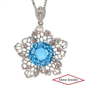 5.56ct Blue Topaz Pink Sapphire 18K Gold Flower Pendant 5.0 Grams NR