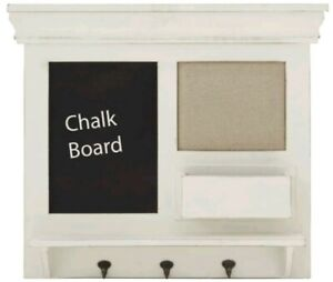 Classic Lovely Wooden Chalkboard Wall Shelf With Three Metal Hooks Home Decor