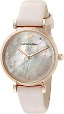 Emporio Armani AR1958 Retro Rose Gold Tone Pink MOP Dial Leather Womens Watch