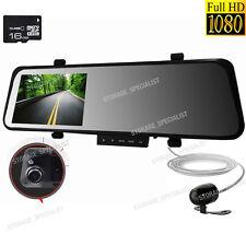 Dual Dash Car Camera 1080P HD Rear View Mirror Cam Reversing System HD CrashCam