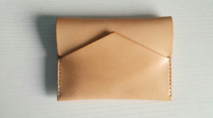 men women wallet purse cow Leather business name Card pouch bag beige white 343