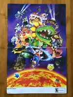 2007 Official Super Mario Galaxy Double Sided Poster Authentic Nintendo Wii RARE