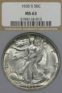 1935-S 50C NGC MS63 Walking Liberty Half Dollar, Walker, Tough in Uncirculated