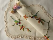 VINTAGE HAND EMBROIDERED LINEN TRAY CLOTH/ TABLE TOPPER/ BEAUTIFUL LITTLE BIRDS