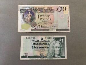 Bank of Ireland £20 Twenty Pound Note Northern Ireland 1999 & RBS £1 note