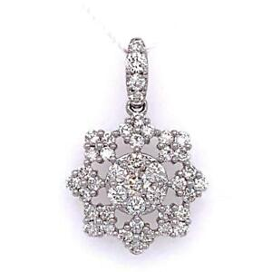 0.80 TCW Round Diamonds Flower Charm / Pendant In Solid 14k White Gold