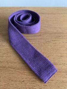 Vintage Purple Lilac Retro Wool Knitted Peaky Blinders Square Kilt Suit Neck Tie
