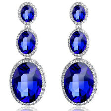Vintage Style Shiny Royal Blue Long three oval stones large party prom earrings