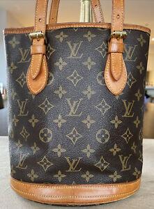 Louis Vuitton, Monogram  PM Bucket  Tote Bag, Authentic, Used Condition.