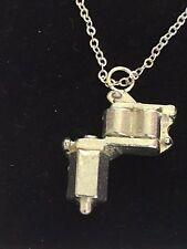 "Tattoo Gun TG55 Fine English Pewter On 16"" Silver Plated Curb Necklace"