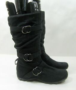 """NEW LADIES Black 1""""wedge Round Toe Sexy Mid-Calf Boots Women Size  8.5"""