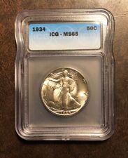 1934 50C Walking Liberty Half Dollar ICG MS65