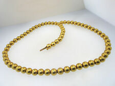 RARE VINTAGE 14K SOLID YELLOW GOLD BEADED NECKLACE 15.9g, 68- 6.3mm GOLD BEADS
