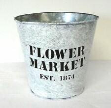 Flower Market Garden Metal Tin Plant Flower Planter Pot Vintage Galvanised Decor
