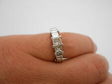 Natural Princess Cut Diamond 14K White Gold Three Stone Ring Band .95ctw  Size 6