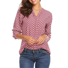 Womens Polka Dot Long Sleeve Blouse Tops Office V Neck Casual Shirt Plus Size