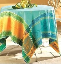 "FRENCH PROVENCE JACQUARD TABLECLOTH, CITRONNIÈRE BLUE, 65"" X 120"", 100% COTTON"