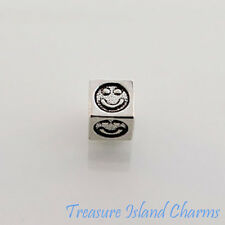 SMILEY HAPPY FACE .925 Solid Sterling Silver BLOCK Bead 5.8mm, 3.8mm Hole