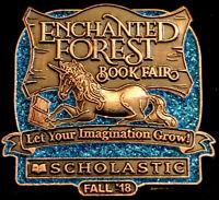 Vintage Enchanted Forest Unicorn Scholastic Book Fair Lapel Pin
