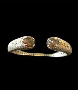 BALI DESIGNS Robert Manse PS GEMSTONE SS Smoky Quartz Gold Accent Cuff Bracelet