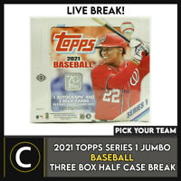 2021 TOPPS SERIES 1 JUMBO BASEBALL 3 BOX HALF CASE BREAK #A1065 - PICK YOUR TEAM