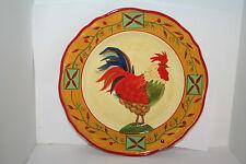 Sakura Stoneware Vividly Colorful Rooster Plate Folk Art Design Country Shabby