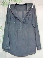 Blaue Zara Trf Millitary Shirt Hemd Bluse Tunika Blau S 34 36 38