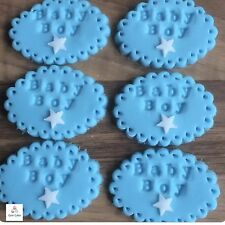 6 Edible Blue Baby Boy Embossed Plaque Shower Cake Cupcake Decorations Toppers